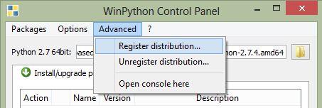 WinPython Register